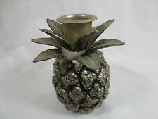 Vintage PINEAPPLE CANDLE HOLDER, DETAILED METAL & PEWTER, 11Oz. w Leaves, 3.75""