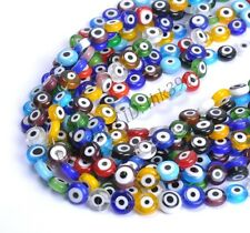 Mixed Round MILLEFIORI Evil Eye Glass Loose Spacer BEADS 4MM 6MM 8MM 10MM 12MM