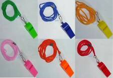 PLASTIC WHISTLE LIFEGARDS REFEREE SPORTS BLOWING WHISTLE WITH COLOURED CORD NEW