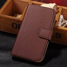 For Samsung Galaxy Trend Plus S7580 Wallet Genuine Real Leather Flip Case Cover