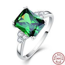 Emerald & White Topaz 100% Solid 925 Sterling Silver Jewelry Rings Size 6 7 8 9