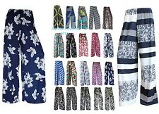 NEW LADIES PRINT PALAZZO TROUSERS WOMENS SUMMER WIDE LEG PANTS PLUS SIZES 8-26.