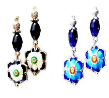 Earrings Rich Blue or Black Cloisonne flower and crystal, Clip on or Pierced