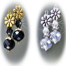 Earrings, Black or Clear crystal, gold or silver, petite drop, clip on pierced