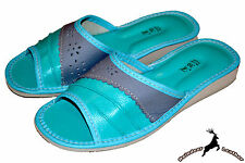 Ladies Soft Genuine Leather House Summer Turquoise Slippers Sandals Flip Flop