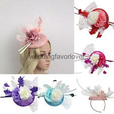 Feather Fascinator Flower Veil Top Hat Millinery Headband Accessory Wedding