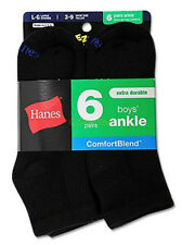 12 pack Hanes Boys Ankle ComfortBlend Assorted Black Socks #432/6B NEW!