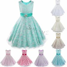 Kids Girls Skirts Lace Flower Dress Ball Gown Prom Pageant Graduation Petticoats