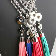 Silver Plated Snap Button Necklace Leather Tassels Pendant For Noosa Jewelry