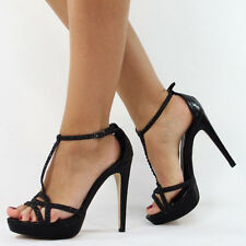 LADIES PEEP TOE STRAPPY PLATFORM STILETTO LADIES HIGH HEEL SANDAL SHOES SIZE 3-8