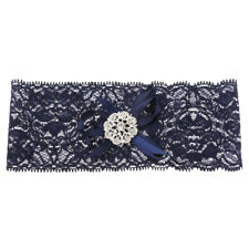 Royal Blue Ladies Bridal Wedding Hens Night Garter Lace Bow Thigh Leg Ring M/L
