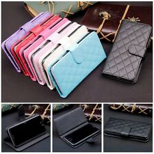 Wallet Case Grid Folio Soft Sheepskin Leather Case Cover For Apple Iphone