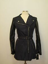 Nwt LAUNDRY BY SHELLI SEGAL Woman's Blue Black Packable Trench Coat Rain Jacket