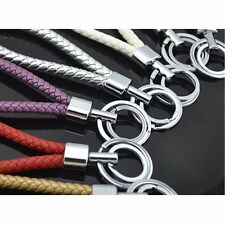 Woven Leather Metal Keyring Car Key Chain Loop Ring Silver Plated Chrome Color