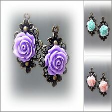 Earrings, Resin Rose, vintage style bronze, choose colour, clip on or pierced