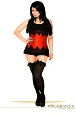 Daisy Corsets Top Drawer Red Beaded Underbust Steel Boned Corset