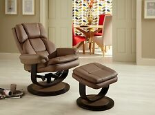 Upton Luxury Swivel Recliner Chair Reclining Armchair FREE Footstool in Leather