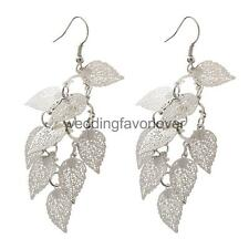 Fashion Tassels Multilayer Hollow Leaves Dangle Earrings Ear Hook Women Jewelry