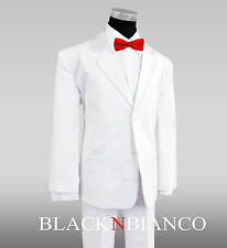 White Tuxedo for Kids Complete Outfit Comes with a Red Bow Tie Boys all ages
