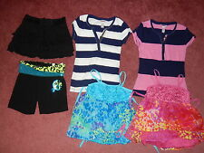 Girls Lot of 6 Justice shirts, shorts and skort - size 7