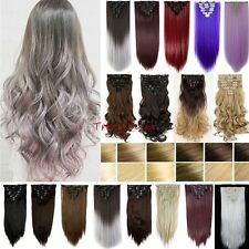 100% Real As Human New Thick Hair Clip In Hair Extensions Full Head Brown H823