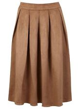 Miss Selfridge Women's Casual Brown Suedette Large Pleat Midi Skirt WITH DEFECT