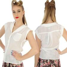 COLLECTIF LEXI WHITE SHEER BLOUSE TOP VINTAGE 50's PIN UP ROCKABILLY ALTERNATIVE