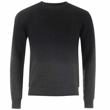 Firetrap Gradient Knit Jumper Mens Black/Charcoal Pullover Sweater RRP £62.99