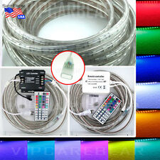 3ft-100ft 110V 5050 SMD RGB 60LED/M Color Strip RopeLight IP68 Waterproof+Remote