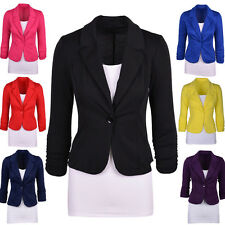 Womens Formal Blazer Suit Work Coat Casual Jacket One Button Candy Color S~2XL