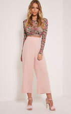 PrettyLittleThing Womens Culottes Tazmin Blush High Waisted Ladies Pants Wide