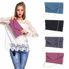Large Faux Suede Purse Wrist Strap Envelope Clutch Lady Chain Strap Shoulder Bag