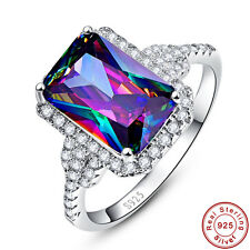 Free Jewelry Box Women Rainbow Topaz 100% 925 Sterling Silver Ring Size 6 7 8 9