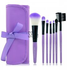 New 7PCS Professional Handle Makeup Cosmetic Brush Set With Case Purple / TXST
