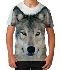 Wolf Face Animal Lover Dog Wildlife Wild Novelty Boys Unisex Kids Child T Shirt