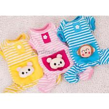 Soft Pet Dog Cat Clothes Striped Pajamas Jumpsuit Coat Apparel Size XS-XL