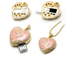 New 8GB 16GB Crystal Heart Pendant USB 2.0 Flash Drive Memory Stick Flash Disk