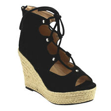 CHASE & CHLOE CD56 Women's Peep Toe Espadrilles Lace Up Wedge Sandals