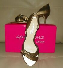Ladies Bronze Leather Open toe shoes Size 8 GORGEOUS Label New in Box RRP$116