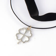 Korean chain Flower Clover lucky Black Leather Retro long necklace Gold filled