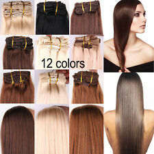 "10Pcs Straight Human Hair Extension Seamless Clip in Lot Weft 20"" 26"" 160G"