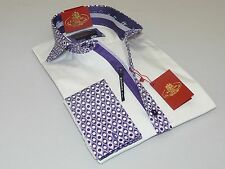 Mens AXXESS Wrinkle Free Cotton Shirt High Spread Collar 216-32 White Purple New