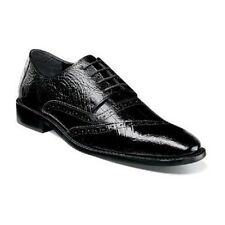 Stacy Adams Mens shoes Garzon Black Ostrich leg eelskin print leather 25028-001