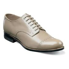 Mens Original Stacy Adams Biscuit Toe shoes Taupe  leather Madison cap toe 00012