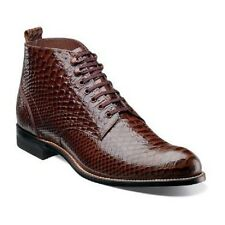 Stacy Adams Mens Madison Ankle Boot High Toe Anaconda print Leather 00057 Brown