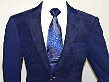 Men's Casual Blazer By INSERCH Patch Pockets and Elbow Style 506 Navy Blue NEW