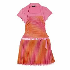 IZ Amy Byer Pink/Orange Sparkle  Shirred Bolero Girl's Dress - Size 10/12/14/16