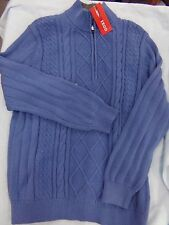 Mens IZOD Blue Zip Neck Cable Knit Winter Sweater NEW ~ MSRP $70.00