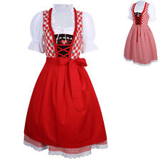 3 in 1 German Beer Girls Bavarian Ethnic Dirndl Dress Vintage Maid Costume Red