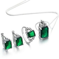 New Women Green Rhinestone Pendant Necklace Earrings Ring Jewelry Set Handy